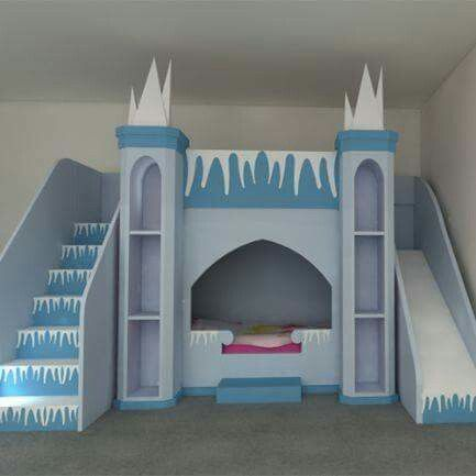 Princess bed with bookshelves,  loft play area and slide.  could DIY? !