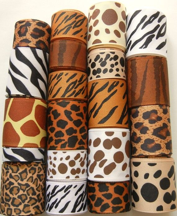 Animal Print Ribbon Lot Leopard Cheetah by HairbowSuppliesEtc, $10.95