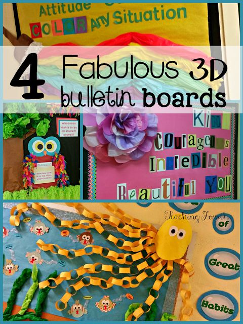 Teaching Fourth: 4 Fabulous 3D Bulletin Board Ideas perfect for your classroom or hallway!