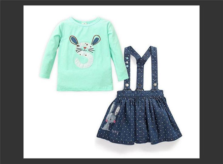 Retail 2016 muchachas de conejo bebé Niños Denim El traje de 2 piezas traje Niños Ropa juego de ropa Trajes Vestidos regular de la madre y de niños vestidos en AliExpress.com | Grupo Alibaba