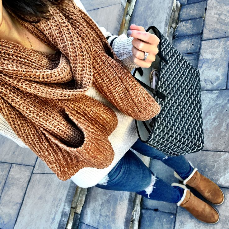 Nordstrom Half Yearly Sale | Cozy knit scarf, sweater, distressed jeans, booties, & Goyard tote