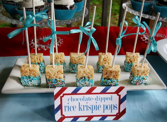 White Chocolate Dipped Rice Krispie Treats on a Stick | The Party ...