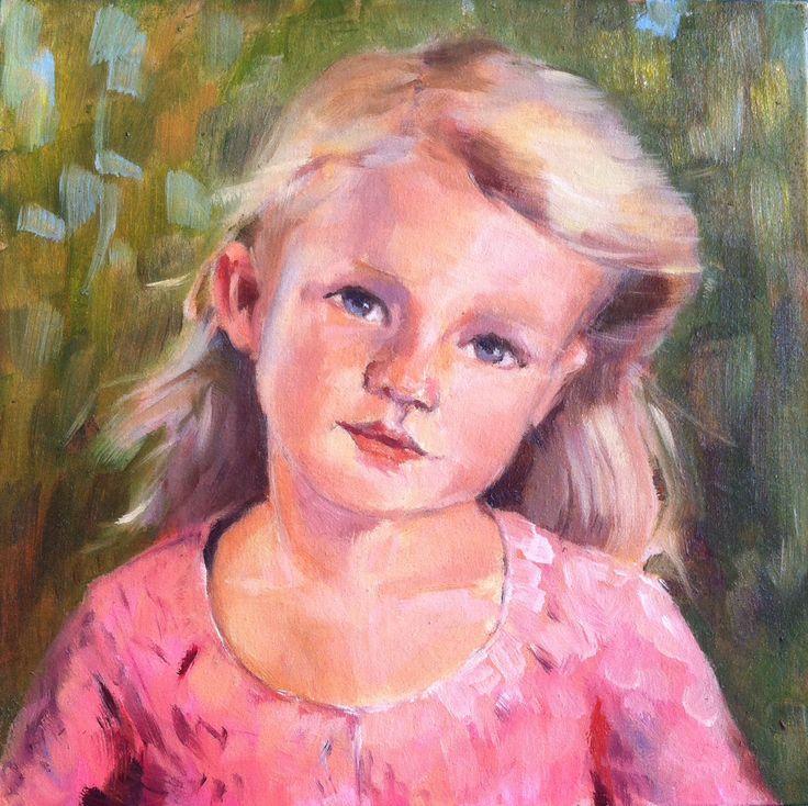 Kiki. 20x20 cm. Portrait of a girl. Oil painting.