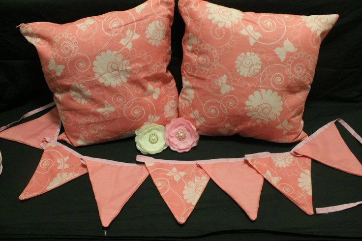 Pink Flowers and Butterflies Cushion Cover & Bunting  http://www.facebook.com/MadeBySarah