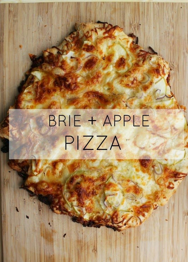 brie + apple pizza I love brie and apple grilled cheese, so this MUST be good.  ;)