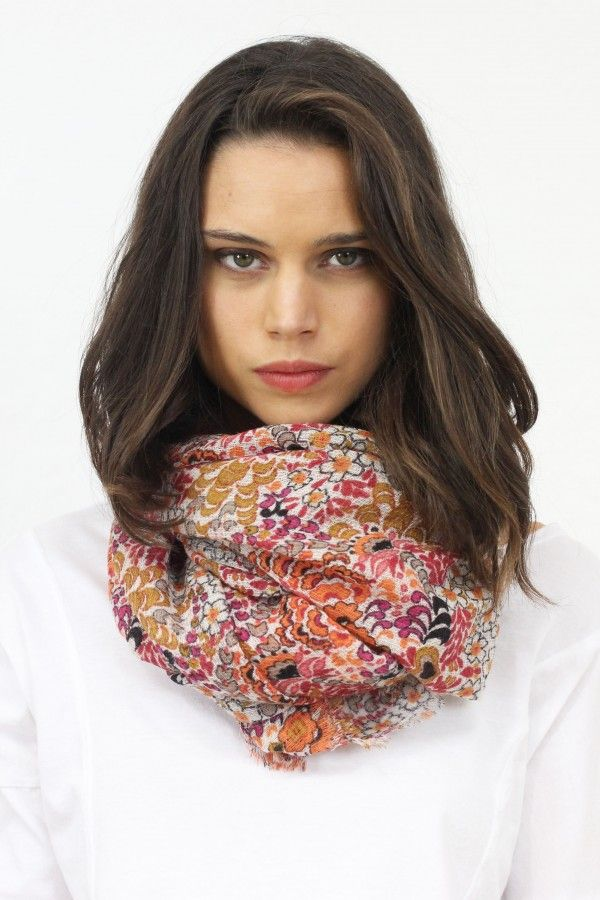 Bufanda flores naranja, new colection, System Action, clothes, ropa, tienda online, online shop, accessories, bag, shoes, scarves, bufanda