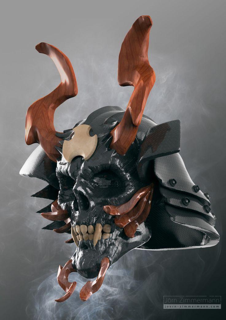 Samurai Skull/Helmet Concept, Joern Zimmermann on ArtStation at https://www.artstation.com/artwork/koVEz