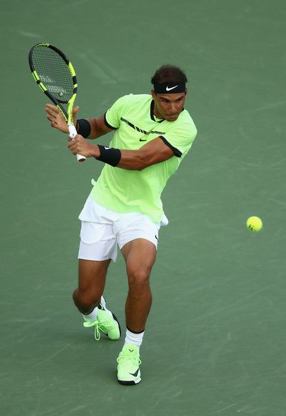 Rafael Nadal Photos Photos - Rafael Nadal of Spain in action against Philipp Kohlschreiber of Germany at Crandon Park Tennis Center on March 26, 2017 in Key Biscayne, Florida. - 2017 Miami Open - Day 7
