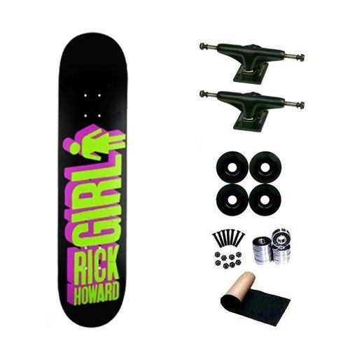 Girl Rick Howard Big Girl 3-D 8.25 Skateboard Deck Complete by Girl. $66.00. SL Abec 3 Bearings. Yellow Jacket Wheels 53mm. Shorties Hardware, Randel Grip Tape. Brand New Girl Skateboard Deck 8.25 x 32. Frontage Trucks. Brand New Top Quality Girl Skateboard Complete