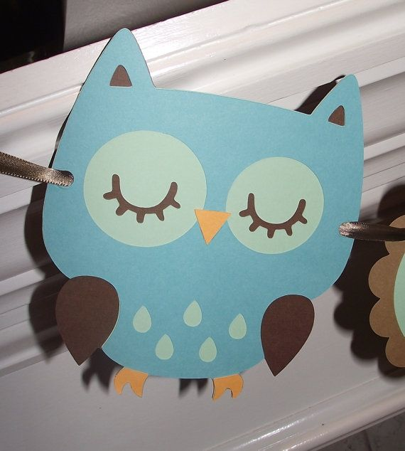 Baby Boy Owl Banner  Hayley Wise Owl by CreativePartyBanners, $30.00