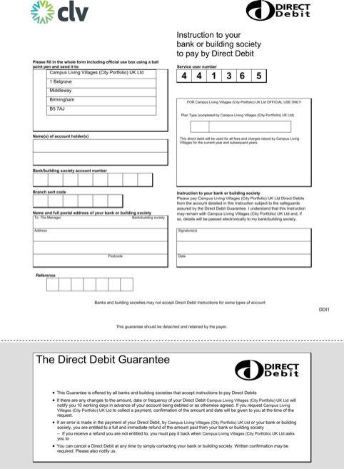 direct debit form