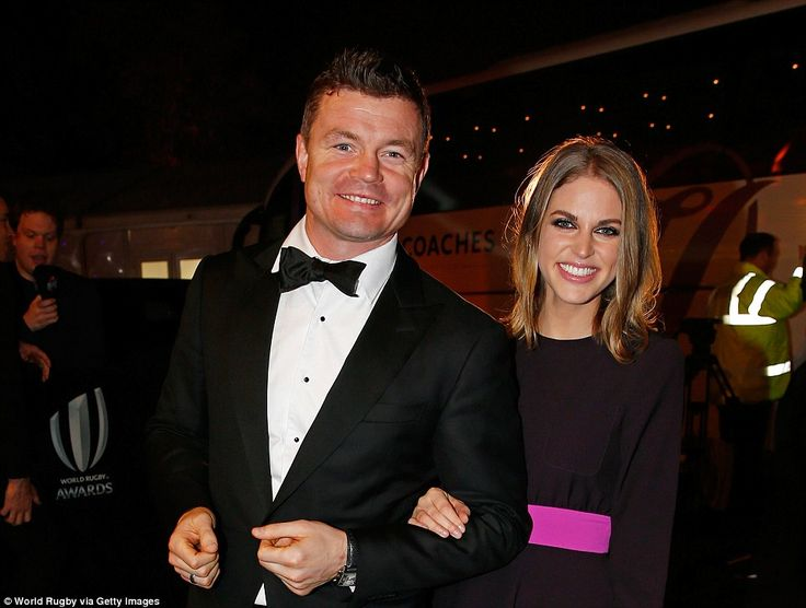 Former Ireland star Brian O'Driscoll and his wife Amy Huberman arrive at the event in London where Williams was given his new medal