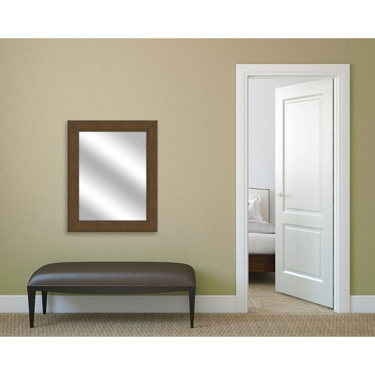 31.5 in. x 25.5 in. Natural Brown Framed Mirror