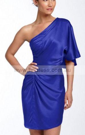 Sheath One Shoulder Knee-length Satin Natural Evening Dresses gt1615