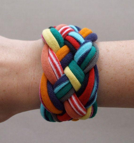 Fabric Bracelet - Rainbow T-Shirt Bracelet - Braided Bracelet - Eco Friendly Jewelry - Fabric Jewelry