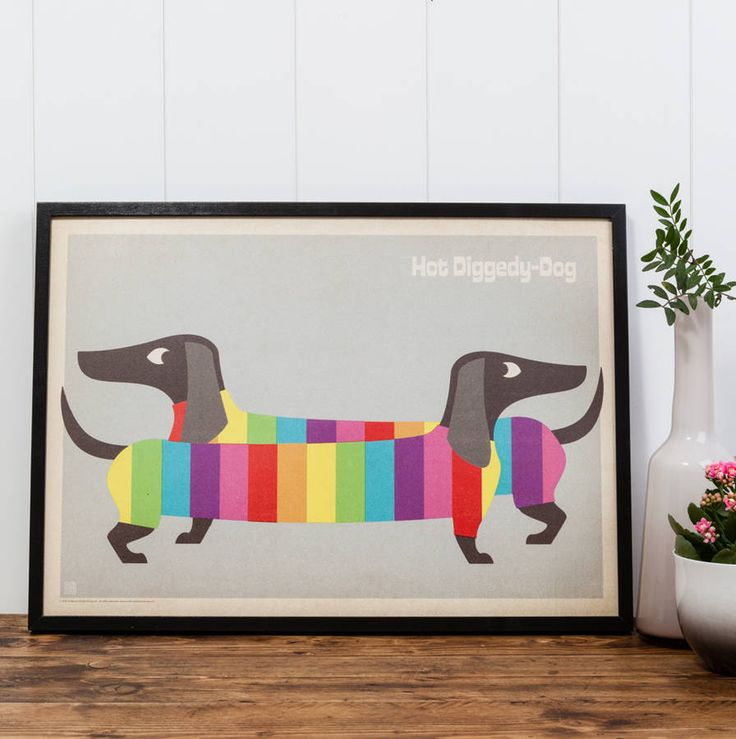 Rainbow Dogs Modern Art Print