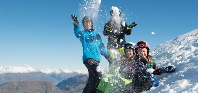 Family skiing and snowboarding holidays at Coronet Peak, New Zaeland. Coronet Peak has a kids' Fun Zone with some small features whilst the Kea Club offers Full Day, Half Day and 3 and 5 Day School Holiday programmes for kids 5-15 years.