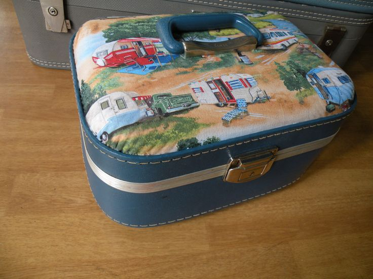 Traincase upcycled with Vintage Campers,Glamper, Mirror, makeup case, overnite bag by Traincasesandmore on Etsy