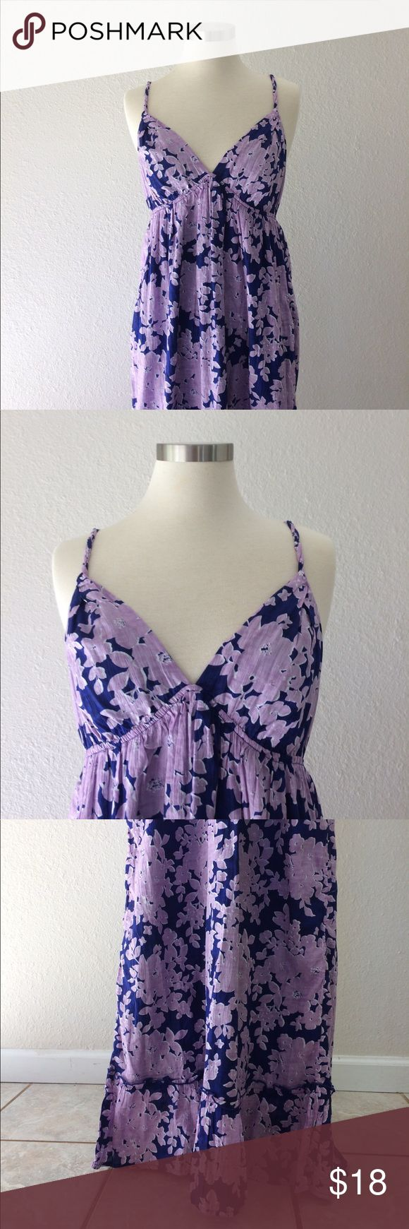 Long Purple sundress Lovely fully lined light weight fabric dress. Adorable twisted straps, flounce at hem. Soft fabric. Old Navy Dresses Maxi