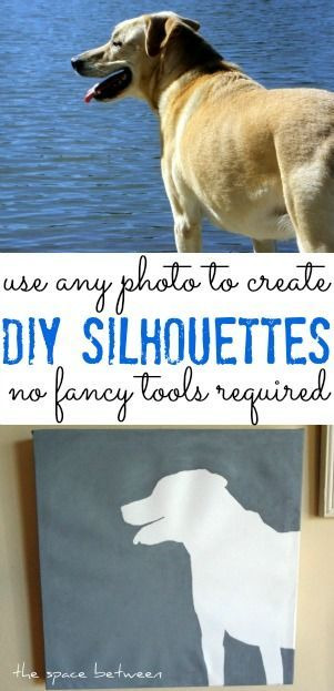 DIY silhouette canvas art print using your dog! Perfect dog-themed décor for any home.