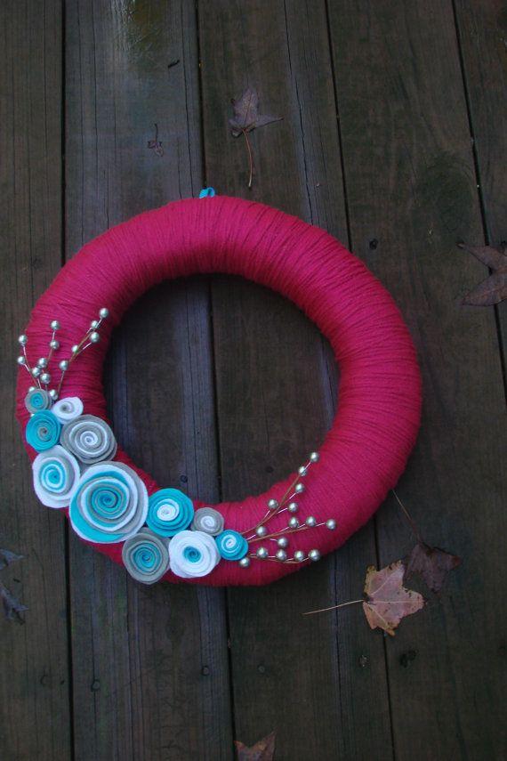 Yarn Wreath for all seasons by lakmep on Etsy, $30.00