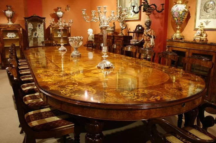 Huge Marquetry Dining Table, 16 Chairs, Extending, Walnut | From a unique collection of antique and modern dining room sets at https://www.1stdibs.com/furniture/tables/dining-room-sets/