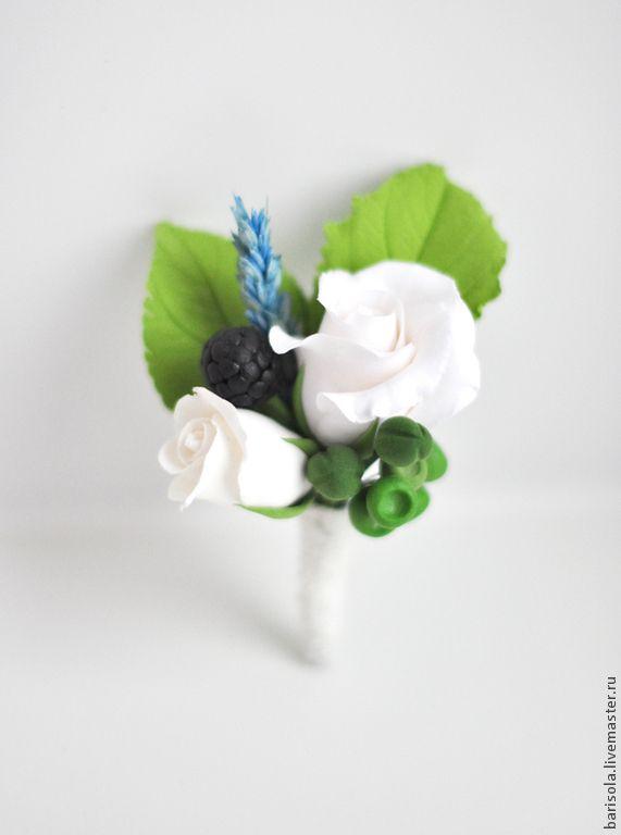 Купить Брошь из полимерной глины - разноцветный, бутоньерка, брошь, брошь ручной работы, брошь с цветами