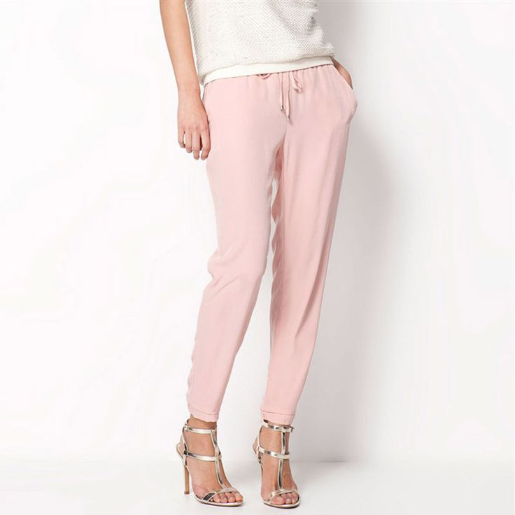 Casual Women Chiffon Pants Elastic Waist Solid Color Office OL Pants Summer Slim Lady Pants AB17