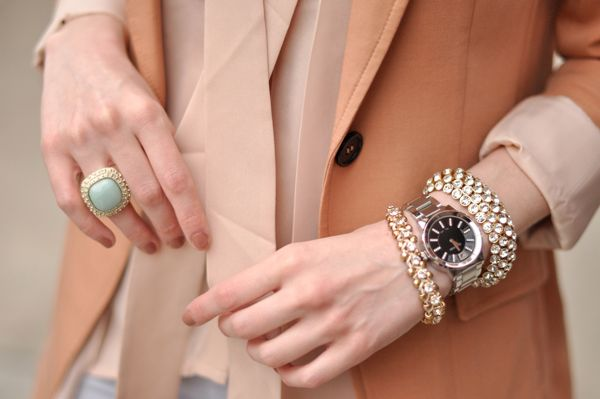pastels + sparkle: Light Pink Blazers, Pastel, Statement Rings, Arm Candy, Fashion, Bracelets, Colors, Girly Girl, Spring Style