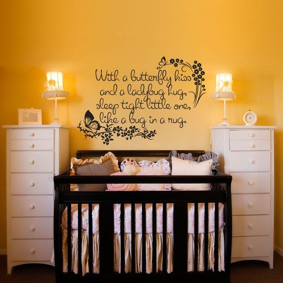 i love that crib and i like the idea of a quote about it.: Butterflies Kiss, Cute Quotes, Dressers, Baby Girls, Sleep Tights, Future Baby, Vinyls Wall Decals, Baby Rooms, Girls Rooms