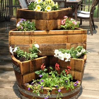 furniture made from wine barrels. beautiful unique wine barrel planter made by ron williams also makes holders and furniture from barrels