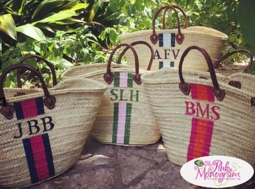 Be the talk of the beach in this French inspired monogrammed straw tote Handmade straw totes with leather handles is monogrammed in the traditional