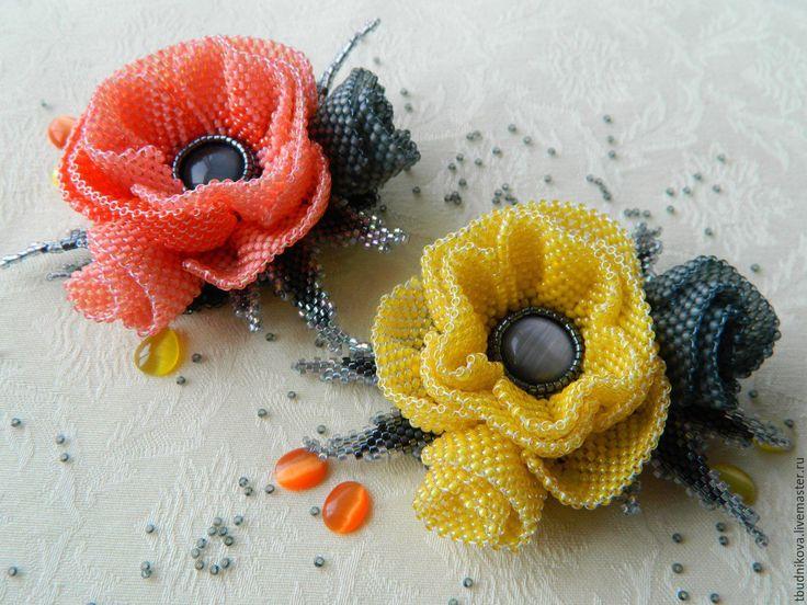 """Купить Брошь """" Франческа"""" - желтый, брошь цветок, лилия, женственное украшение, яркий аксессуар"""