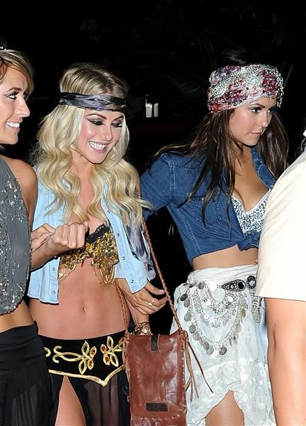 Julianne Hough and Nina Dobrev head to Selena Gomez's 21st birthday party in Malibu, Calif., on July 27, 2013.