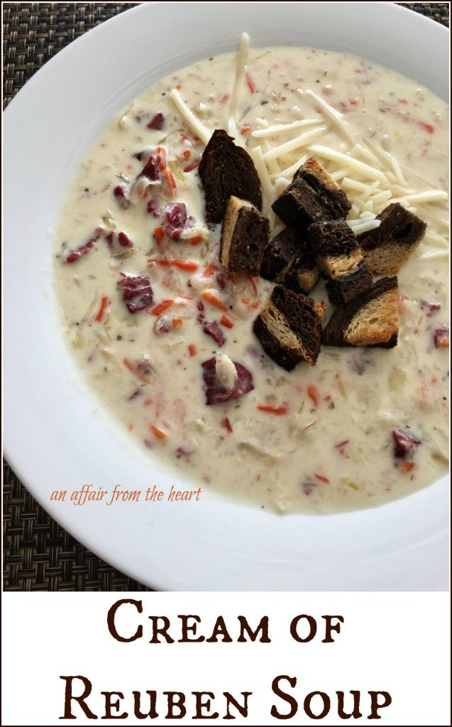 Cream of Reuben Soup - If you love Reubens, you are sure to love this rich and creamy rendition of this popular sandwich in a soup! MAde by An Affair from the Heart for @FranksKraut #Sp
