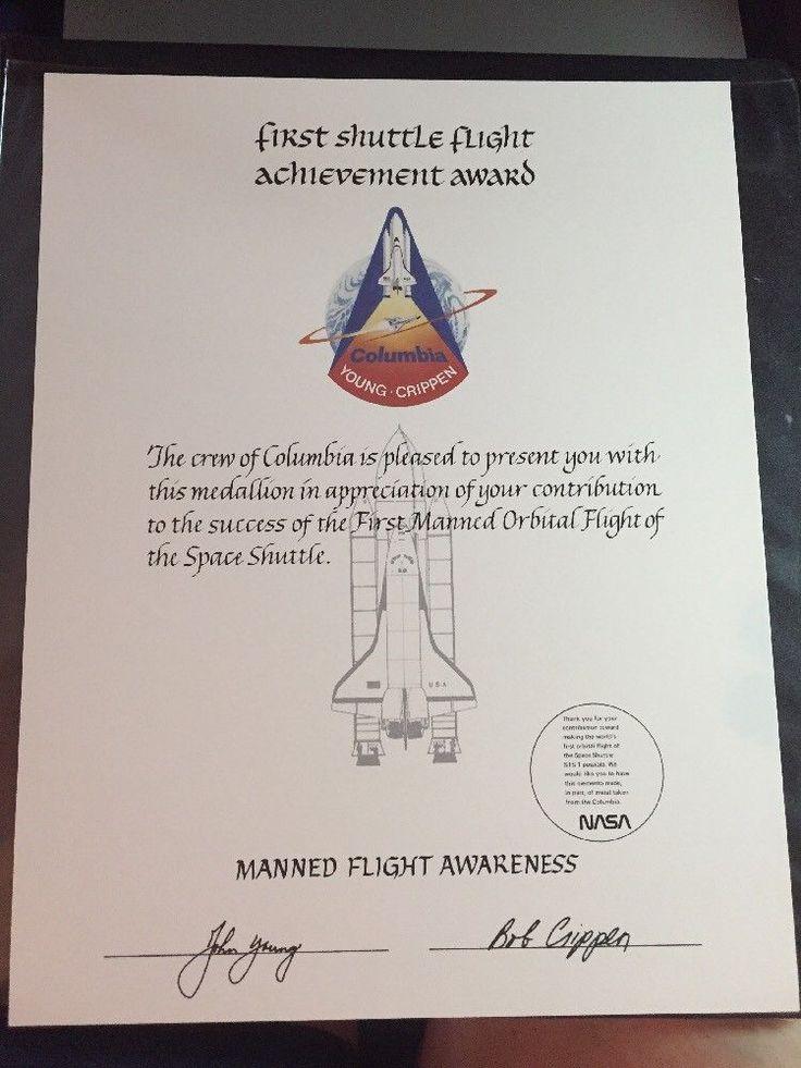 Blank STS-1 Space Shuttle Columbia 1st Manned Orbital Flight MFA Certificate