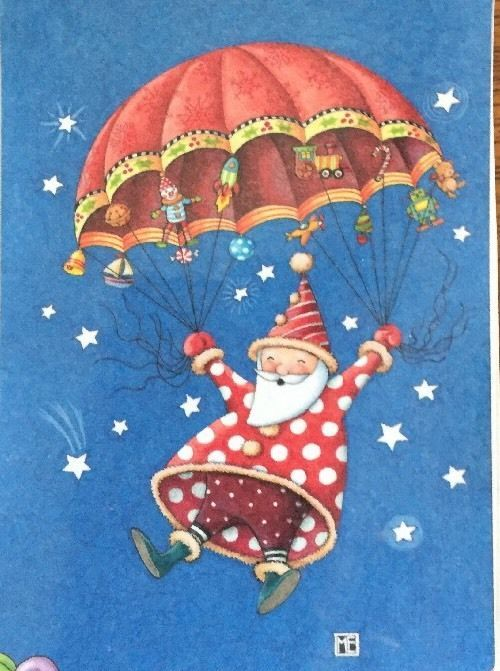 Parachuting Santa-Handmade Magnet-Mary Engelbreit Artwork