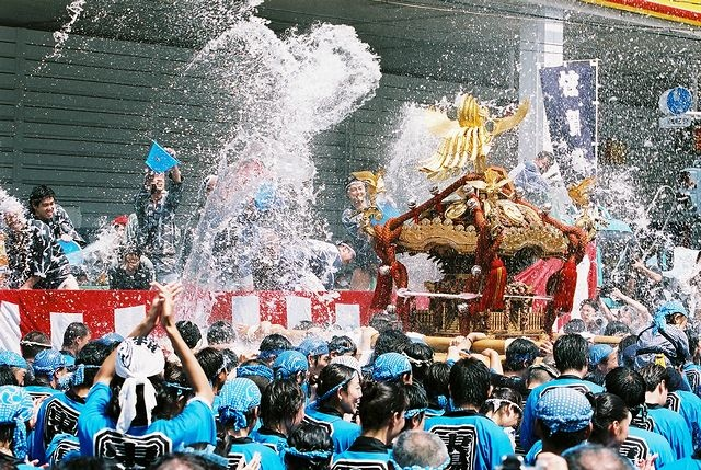 mizukake festival (water fes.) at downtown Tokyo.
