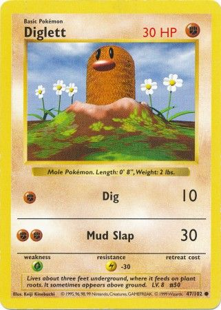 Diglett - 47/102 - Common (Shadowless) - HP: 30
