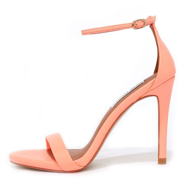 Steve Madden Stecy Coral Neon Ankle Strap Heels ($79) ❤ liked on Polyvore featuring shoes, sandals, pink, ankle wrap shoes, steve-madden shoes, ankle strap heel sandals, anchor shoes and neon coral shoes