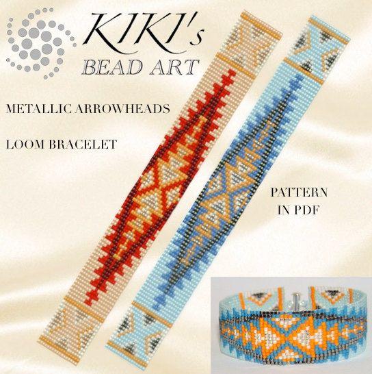 Bead loom pattern, Metallic arrowheads ethnic inspired LOOM bracelet cuff pattern in PDF - instant download