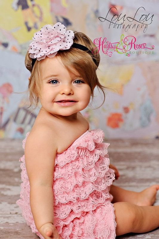 3 Pc Set Pink Petti Lace Romper Headband Flower Sash Set