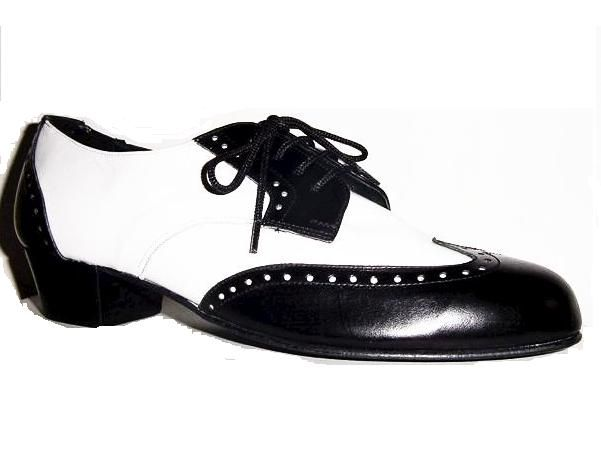 Tango and Swing Men's Shoes Black Trim on White