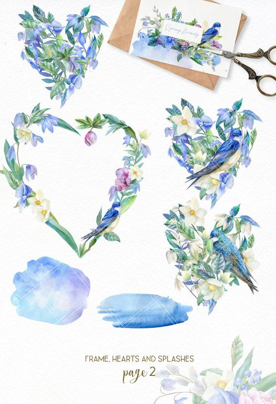 Watercolor Spring Clipart Wedding Wreath Clip Art Rustic Blue