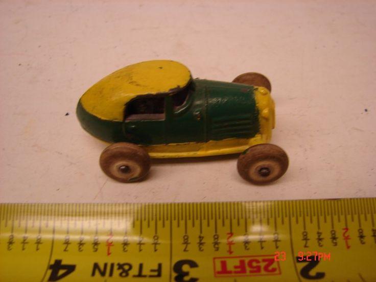 Antique Slush Cast Metal Toy Car Barclay Racer Vintage SEDAN WHITE WHEELS