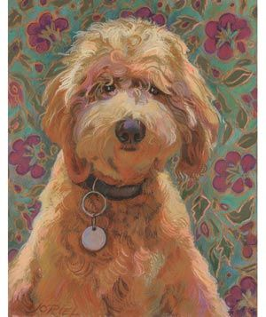 Custom Pet Portraits: Jane Oriel, based in San Francisco, places pets against a pretty, patterned backdrop—your favorite rug or wallpaper, perhaps (you'll send shots). Oriel will talk to you to get a sense of your pet's personality.