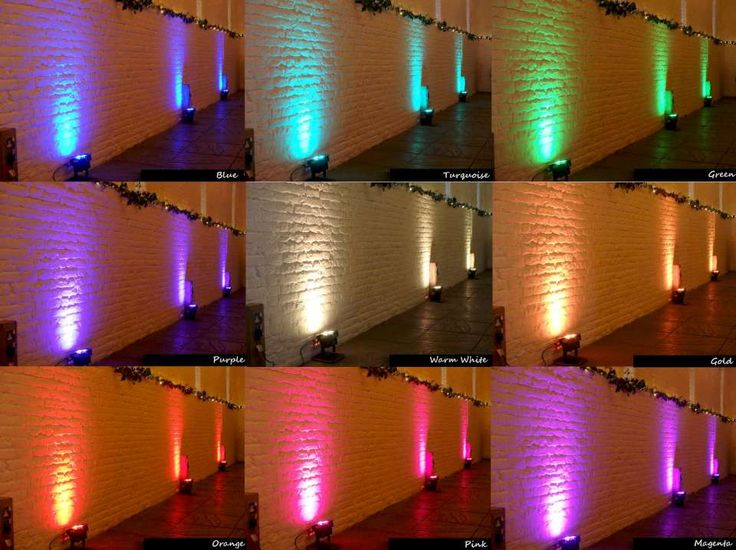 Our popular wedding uplighting colours in a handy quick-glance guide!