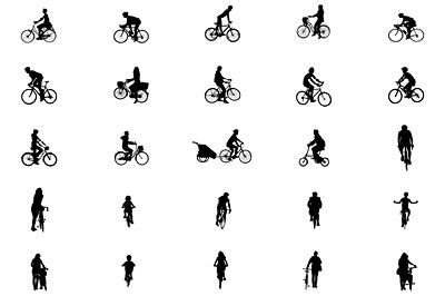 People cycling for architectural drawings.  High detailed vector drawings. Available for Revit, Archicad, Illustrator and SketchUp.  https://www.archigrafix.com/revit-detail-item-cyclists.html