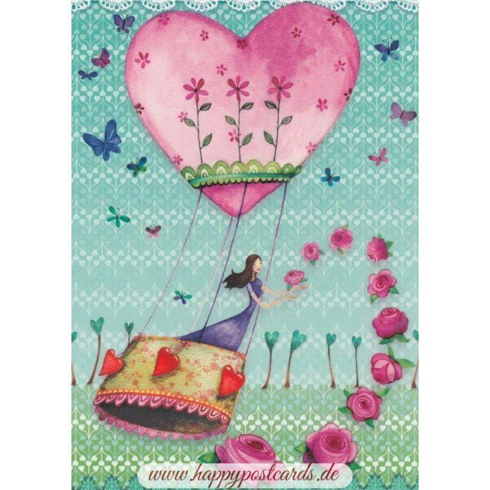 Frau im Herzheißluftballon – Mila Marquis Postkarte