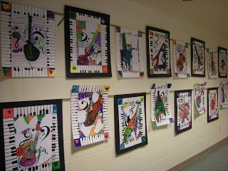 ROMEARE BEARDEN MUSIC COLLAGE  Romeare Bearden was very interested in jazz music and this influenced his art.  Topics discussed and studied...different instruments in a Jazz Band, definition and creation of a collage, using piano keys pattern for the border, designing their own guitar, overlapping musical notes and sheet music; various types of lines, filling negative space.